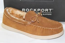ROCKPORT SUEDE MOCCASIN MEN'S SLIPPERS, COLOR CARAMEL (DARK TAN), 25427 - $52.24