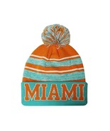 Miami Men's Blended Stripe Winter Knit Pom Beanie Hat (Aqua/Orange) - $13.75