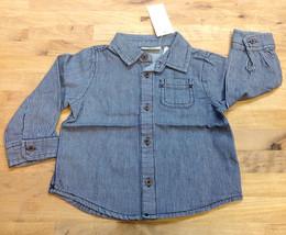 First Impressions Baby Boys' Striped Denim Shirt, Denim, Size 18M - $9.89