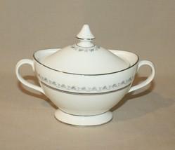 Sugar Bowl & Lid Royal Doulton Tiara H4915 Bone China Platinum - Green Backstamp - $22.72