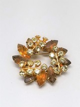Topaz Color Rhinestones and Clear Rhinestones Gorgeous Vintage Pin Brooch - $13.50