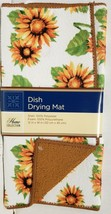 """Microfiber Dish Drying Mat, Approx 12"""" x 18"""", SUNFLOWERS, light brown by GR - $10.88"""