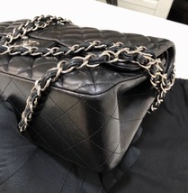 100% Authentic Chanel BLACK QUILTED LAMBSKIN JUMBO CLASSIC DOUBLE FLAP BAG SHW image 6