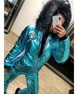 Blue Metallic Skisuit Snowsuit Ski Anzug Suit Shiny Glanz Nylon Winter J... - $89.00