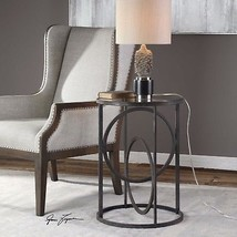 "RESTORATION 25"" FORGED METAL ACCENT END TABLE GLASS TOP INDUSTRIAL IRON ... - $248.60"