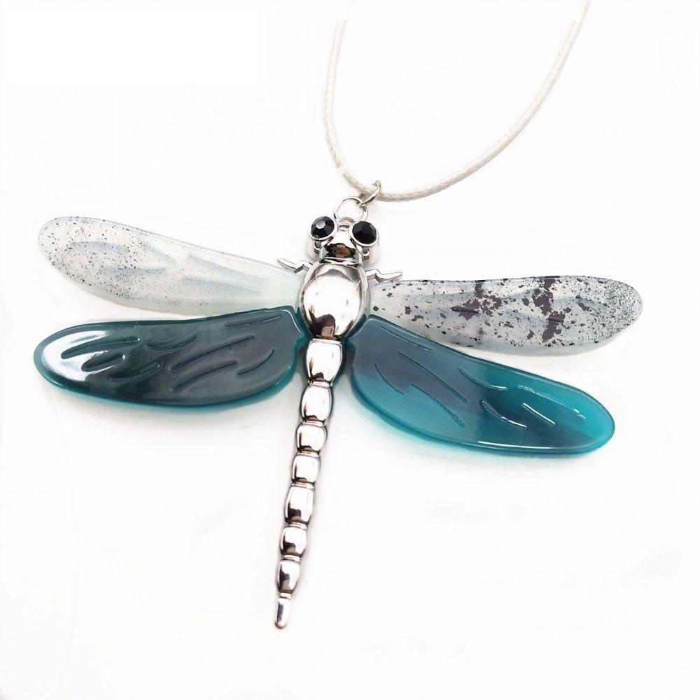 Women Dragonfly Necklace Pendant Zinc Alloy Statement Color Collar Accessories