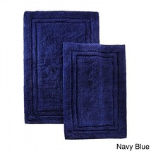 Bathroom Rug Set Bath Mats Cotton 2 Piece Machine Wash Non Slip Navy Blu... - $61.40