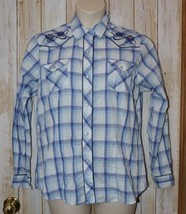 Womens Blue Plaid Roper Long Sleeve Snap Front Western Shirt Size XL exc... - $7.91