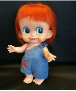 "1960's BIG EYE Rubber Doll Large 9"" My Toy JAPAN Cutie Pie Orange Hair B... - $41.61"