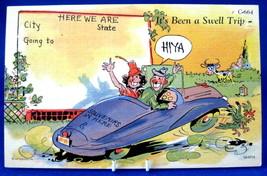 Postcard Curt Teich Motoring Comics Postcard Been A Swell Trip Humor 1940s - $16.00