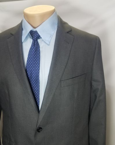 APT.9 MEN'S SPORT COAT CHARCOAL GRAY POLYESTER 2 BUTTON RAYON DOUBLE VENT 44R