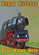 Steam Train locomotive  A5 Birthday Greeting card personalised A5 Codedsd - $4.06