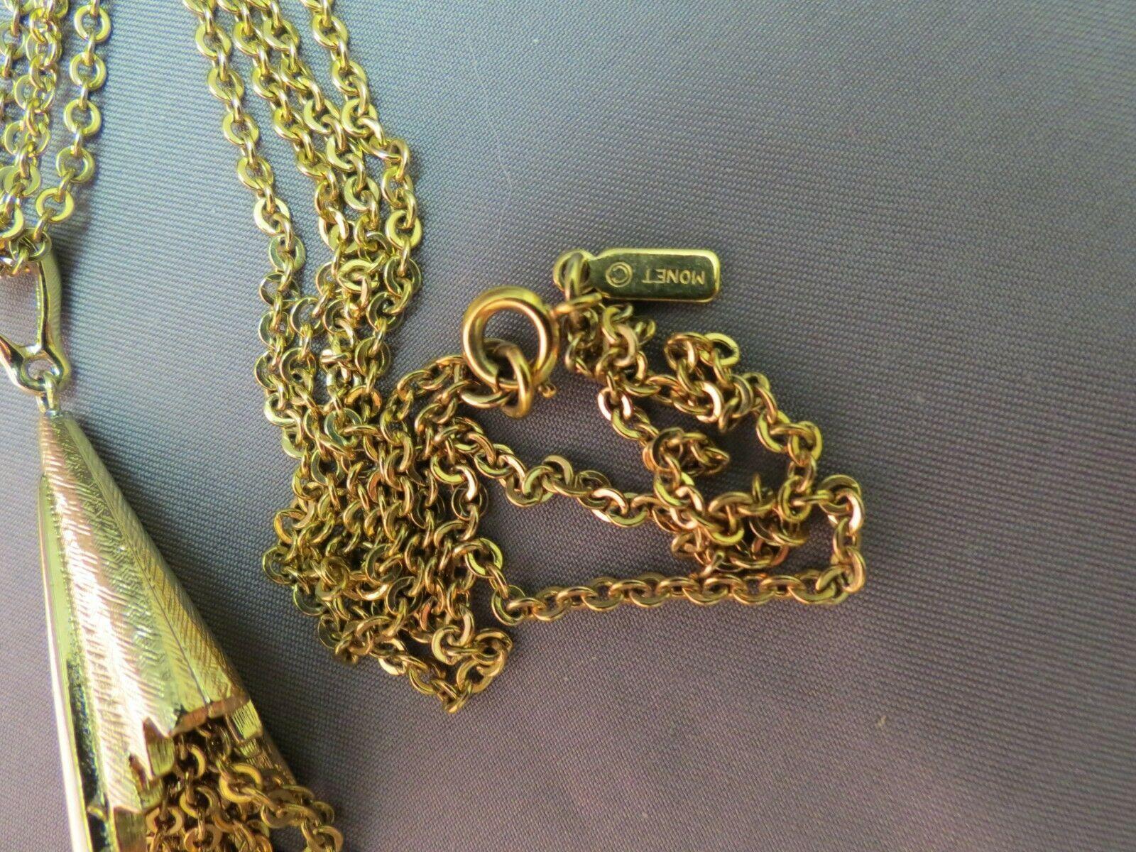 """VTG Monet Tassel Necklace Double Multi Chain Designer Gold Plated 28"""" Long image 4"""