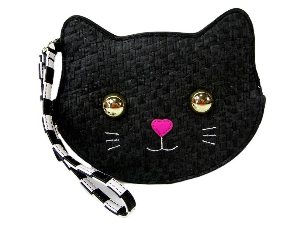 Betsey Johnson Logo Coin Purse Wallet Wristlet Pouch Woven Clutch Bag Cat NWT