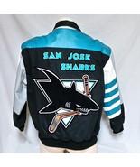 VTG San Jose Sharks Jeff Hamilton Denim Leather Jacket 90s Coat Bomber N... - $224.99