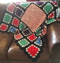 "Crocheted Afgan Throw Blanket Multi Color 56"" x 59"" Granny Squares Handm... - $22.79"