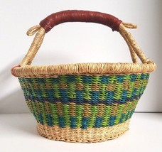 Easter Egg Basket Hand Woven Straw Grass African Market Bolga Leather Ha... - $47.95