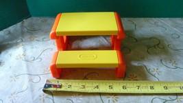 VINTAGE LITTLE TIKES DOLLHOUSE PICNIC TABLE - ORANGE & YELLOW Free Shipping - $16.82