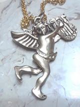 Vintage HUGE Angel Cherub with Harp Gold Tone Pendant Necklace - $10.00
