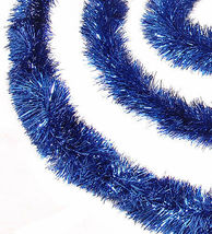 50' Shiny Lavish Blue Christmas and Hanukkah Foil Tinsel Garland - tkcc - $39.95