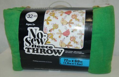 No Sew Fleece Throw Kit 1130 6685 Bird Design Light Green White 72 By 60 Inches