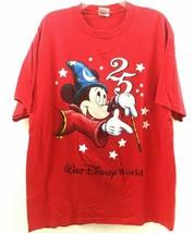 VTG Walt Disney World T-Shirt Mickey Mouse  INC. 2 Sided 25th Anniversary Red XL - $33.45