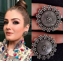 Round Classy Flower Indian Fashion Traditional Classy Silver Ethnic Stud... - €5,09 EUR