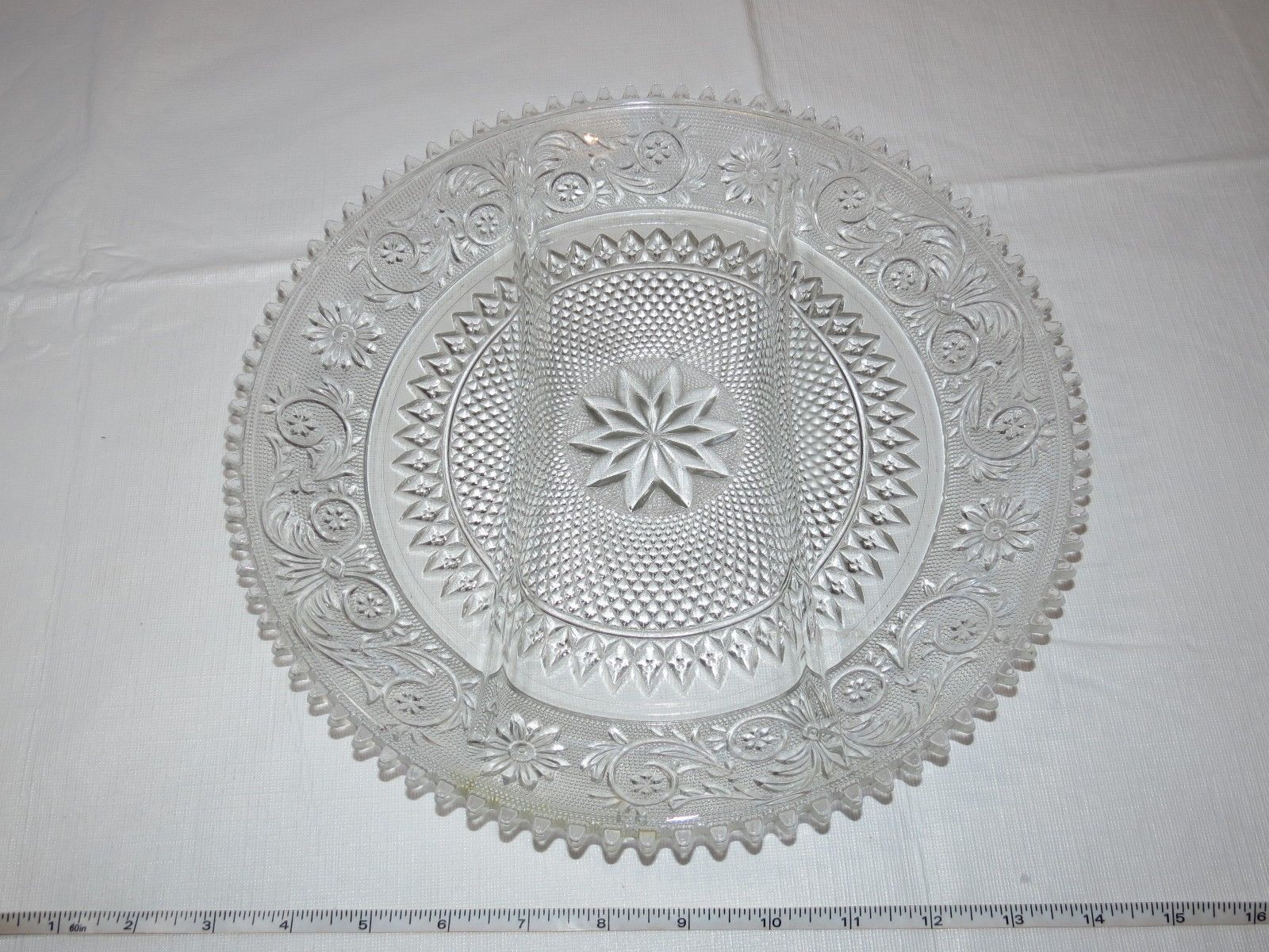 "Vintage Tiara Indiana Glass Clear Sandwich 3 Part Divided Relish 12"" Tray ~"