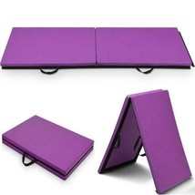 6x 2 Gymnastics Mat Thick Two Folding Panel Gym Fitness Exercise Purple - $41.51