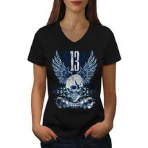 Lucky Thirteen Skull Shirt Dark Horror Women V-Neck T-shirt - $12.99+