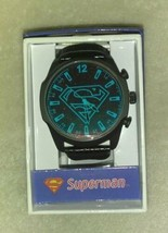 Accutime SUPERMAN Watch - Color Changing Jumbo Black Dial - Faux-Leather... - $43.55