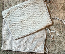 2 Pottery Barn Washed Velvet Silk Channel Pickstitch Quilted Standard Bl... - $43.56