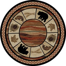 Round Lodge Cabin Rustic Bear Pine Fish Leaf Area Rug **Free Shipping** - €95,59 EUR+