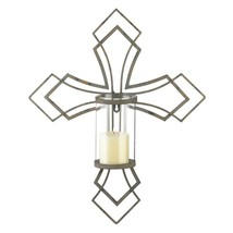 Cross Pillar Candle Holder Wall Sconce Home Decor - $26.99