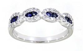 Zaffiro Blu Rotondo Gemma 14K Oro Bianco 0.25CT Diamante Naturale Band G... - $1,765.67