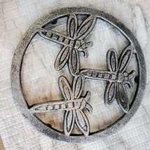 Cast Iron Trivet, Dragonfly Design, Metal Hot Mat, Pot Mat, Dragonflies Decor image 6