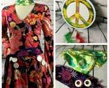 Women's S/M Flower Woodstock Groovy Hippie Tambourine Halloween Costume Handmade