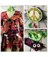 Women's S/M Flower Woodstock Groovy Hippie Tambourine Halloween Costume ... - $44.54