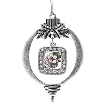 Inspired Silver Apple Blossom Classic Holiday Decoration Christmas Tree Ornament - $14.69
