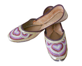 Women Shoes Jutti Indian Party Handmade Leather Flip-Flops Cream Mojari ... - £19.27 GBP