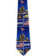 Marines Raising USA Flag Iwo Jima Mens Necktie WWII Patriotic Blue Neck Tie - $14.85