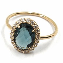 SOLID 18K ROSE GOLD FLOWER RING, BLUE CUSHION OVAL CRYSTAL CUBIC ZIRCONIA FRAME image 1