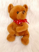 """Best Made Toys - Brown 7"""" TEDDY BEAR  w/Red Bow LOVE Soft Plush Stuffed Animal - $11.30"""