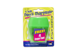 Pencil Sharpener,2 Hole with Eraser Caps, Assorted Colors, 12 Cards/Disp... - $48.96