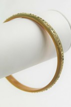 "7"" VINTAGE ESTATE Jewelry CELLULOID RHINESTONE SPARKLE BANGLE BRACELET  - $15.00"
