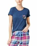 Jennifer Moore Womens Printed Boat Neck Pajama Top Navy Size Small - $14.99