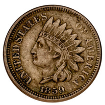1859 Indian Head Cent 1C Penny (Extra Fine, XF Condition) Well Struck - $98.01