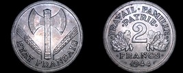 1944 French 2 Franc World Coin - German Occupied France - $24.99