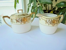 Noritake Pattern # 16034 Sugar Bowl with Lid and Creamer - $23.76