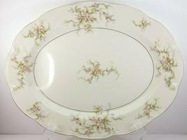 "Theo Haviland NY Rosalinde Meat Platter w Well 14"" Ivory Porcelain Pink ... - $31.68"